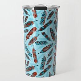 Tlingit Feathers Blue Travel Mug