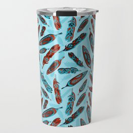Tlingit Feathers Blue Travel Mug