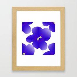 Large Retro Blue Flowers #1 White Background #decor #society6 #buyart Framed Art Print