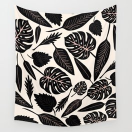 Monstera pattern in black and pastel Wall Tapestry