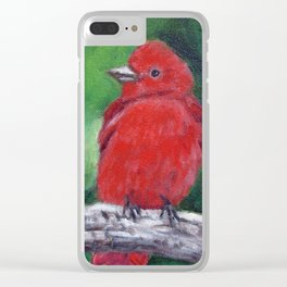 Red Bird Summer Tanager Clear iPhone Case