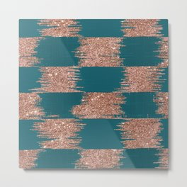 Modern chic forest green rose gold glitter ikat pattern Metal Print