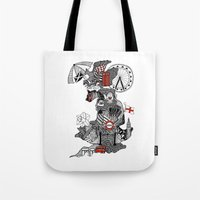 england Tote Bags featuring England Doodle by Rebecca Bear