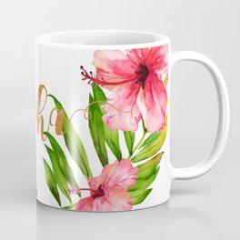 Aloha Watercolor Tropical Hawaiian leaves and flowers Coffee Mug
