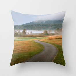 Misty Dawn Golf Course Throw Pillow