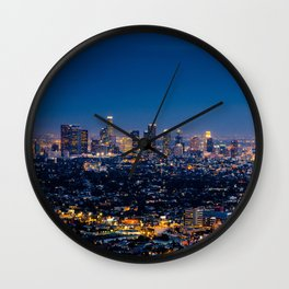 Los Angeles, California, I love LA Downtown Skyline, Golden lights, USA Sunset Blvd, Palms, Cali Map Wall Clock