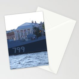 A cannon on the nose of the Navy warship Admiral Makarov with the identification number 799. Stationery Cards