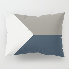 Blue Grey White Abstract Geometric Art Pillow Sham