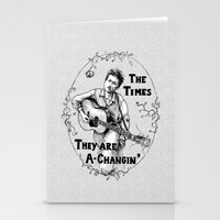 bob dylan Stationery Cards featuring Bob Dylan by Required Animals