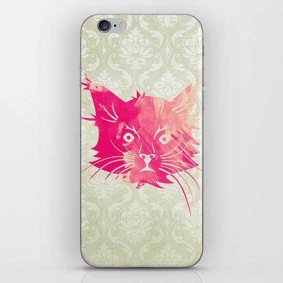 Pink Watercolor Cat Vector Vintage Floral Damask iPhone & iPod Skin