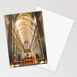 Salisbury Cathedral At Christmas Time Stationery Cards