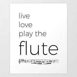 Live, love, play the flute Art Print