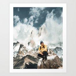 hiking in patagonia Art Print
