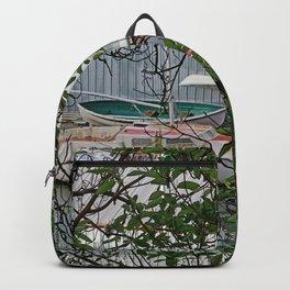 BOATHOUSE THROUGH MADRONA TREES Backpack