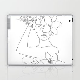 Minimal Line Art Woman with Flowers VI Laptop & iPad Skin
