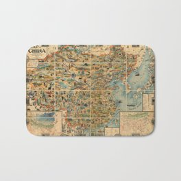 Pictorial Map of China - 1931 Bath Mat