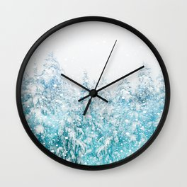 Snowy Pines Wall Clock
