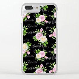 Watercolor blush pink white black camellia floral typography Clear iPhone Case