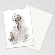 Girl Short Hair and  Shirt Stationery Cards