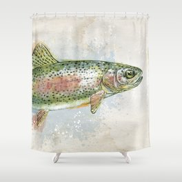 Splashing Rainbow Trout Shower Curtain