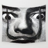 mustache Wall Tapestries featuring I am drugs ( Salvador Dali ) by Black Neon
