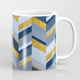 Chevron with Textures / Gold Effect and Denim Blue Coffee Mug