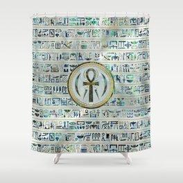Abalone Shell Egyptian Ankh Cross symbol Shower Curtain