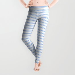 Mattress Ticking Narrow Striped Pattern in Pale Blue and White Leggings