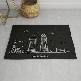 Jacksonville Minimal Nightscape / Skyline Drawing Rug
