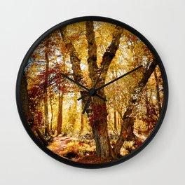 Old tree bridge in Fall Wall Clock