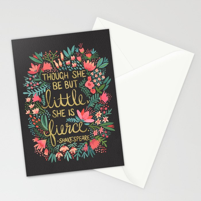 Little & Fierce on Charcoal Stationery Cards