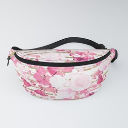 Watercolor pink white burgundy gold geometric floral Fanny Pack