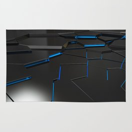 Black fractured surface with blue glowing lines Rug