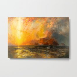 Majestic Golden-Orange Sunset Over the Troubled Atlantic Ocean landscape by Thomas Moran Metal Print