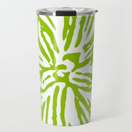 Chartreuse Flower Linocut Textile Travel Mug