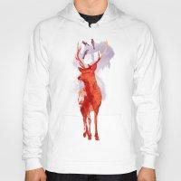 deer Hoodies featuring Useless Deer by Robert Farkas