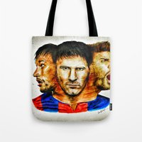 neymar Tote Bags featuring Barcelona by IremYorukoglu