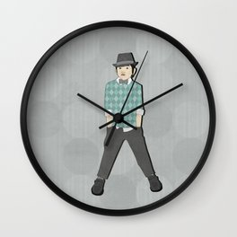 Boys formal wear turquoise argyle Wall Clock