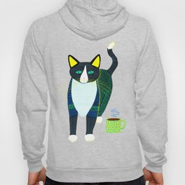 Graham the Cat with His Morning Coffee Hoody
