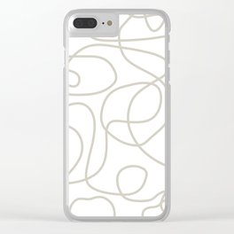 Doodle Line Art | Warm Gray/Beige Lines on White Background Clear iPhone Case