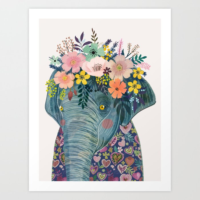 Elephant With Flowers On Head Art Print By Miacharro