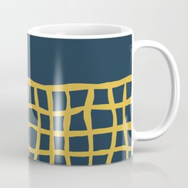 Mesh Cuff Solid Minimalism in Light Mustard Yellow and Navy Blue Coffee Mug