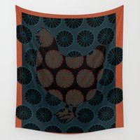 chicken Wall Tapestries featuring Chicken by Art Goes Up