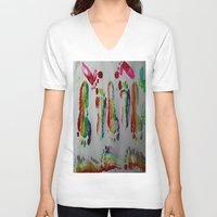 duvet cover V-neck T-shirts featuring FOOTSTEPS DUVET COVER DESIGN by aztosaha