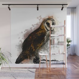 the owl looked up to the stars above Wall Mural