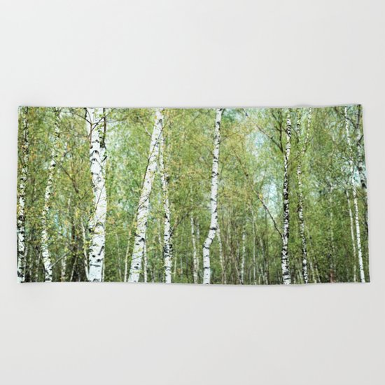 the birch forest III Beach Towel