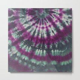 Tie Dye Spiral Green Purple Metal Print