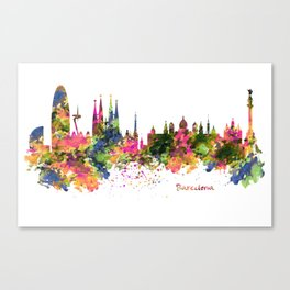 Barcelona Watercolor Skyline Canvas Print
