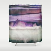 northern lights Shower Curtains featuring Northern Lights by SpaceFrogDesigns