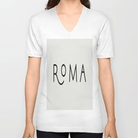 rome V-neck T-shirts featuring rome by LA creation